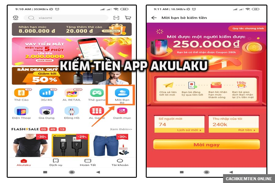 Kiếm tiền từ cộng tác viên với app Akulaku